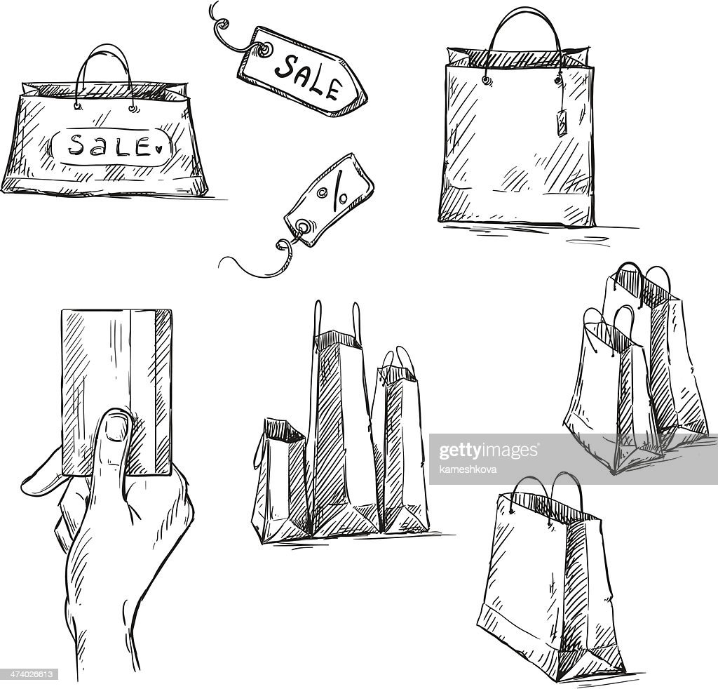 Shopping icons, sale tag, paper bags drawing
