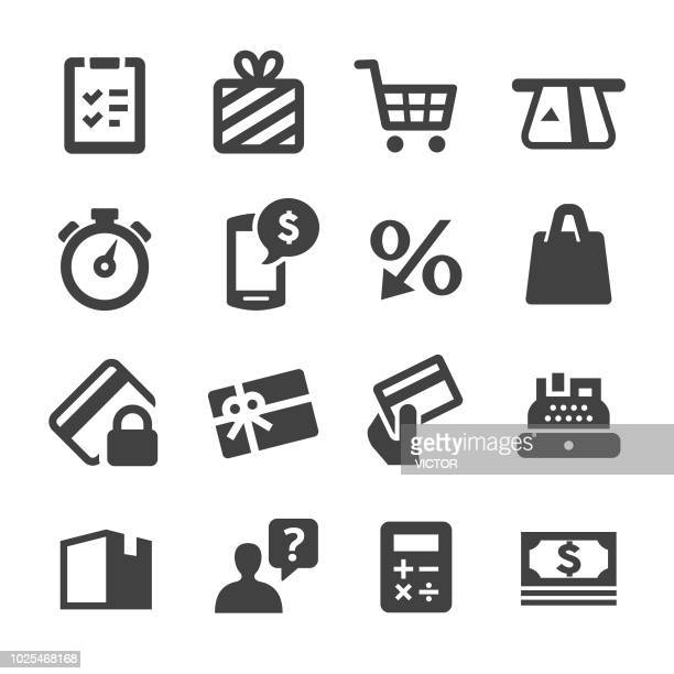 shopping icons set - acme series - coupon stock illustrations