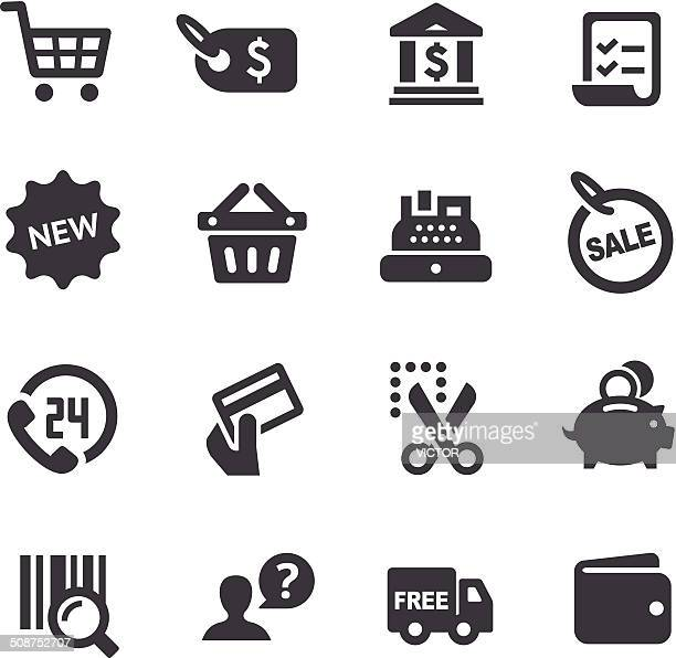 shopping icons set - acme series - shopping list stock illustrations, clip art, cartoons, & icons