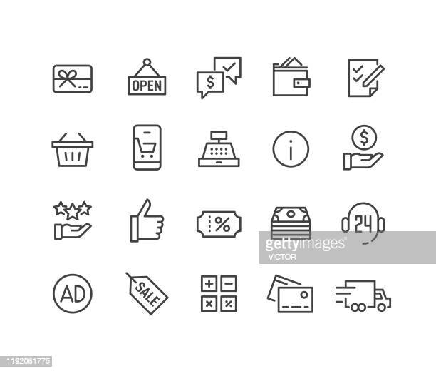 shopping icons set - classic line series - free of charge stock illustrations