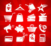 Shopping icons set, sale symbols collection