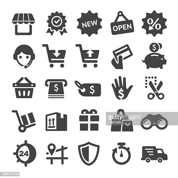 shopping icons set - smart series - store opening stock illustrations