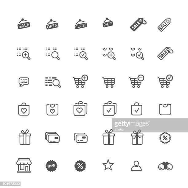 shopping icons set - shopping list stock illustrations, clip art, cartoons, & icons