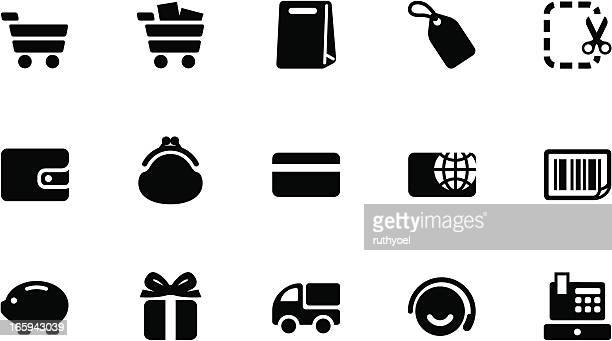 Shopping icons . Simple black