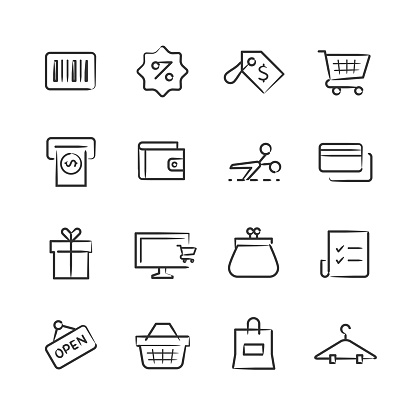 Shopping Icons — Sketchy Series - gettyimageskorea