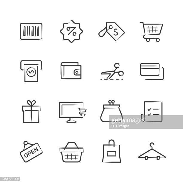 shopping icons — sketchy series - basket stock illustrations, clip art, cartoons, & icons