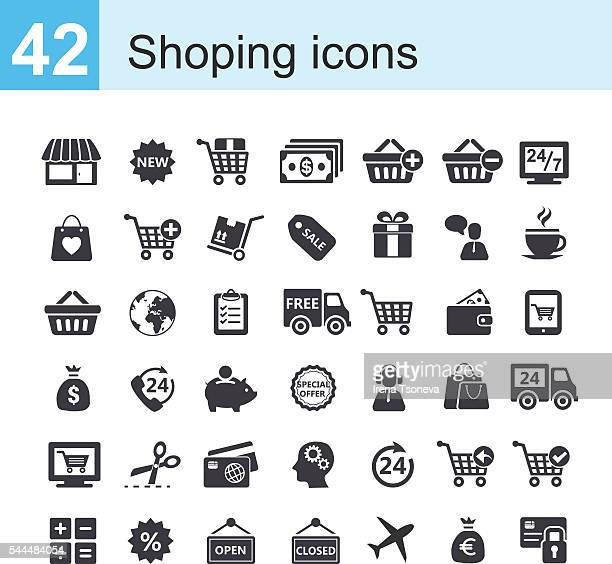 shopping icons - checkout stock illustrations, clip art, cartoons, & icons