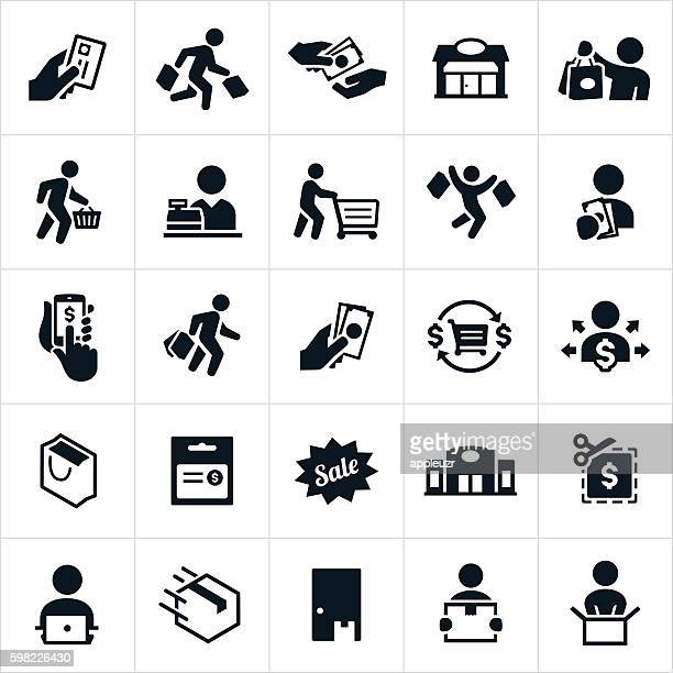 shopping icons - consumerism stock illustrations