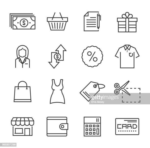 shopping icons - boutique stock illustrations, clip art, cartoons, & icons
