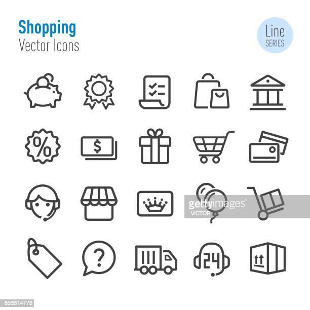 ilustrações, clipart, desenhos animados e ícones de ícones de compras - vetor linha série - e commerce