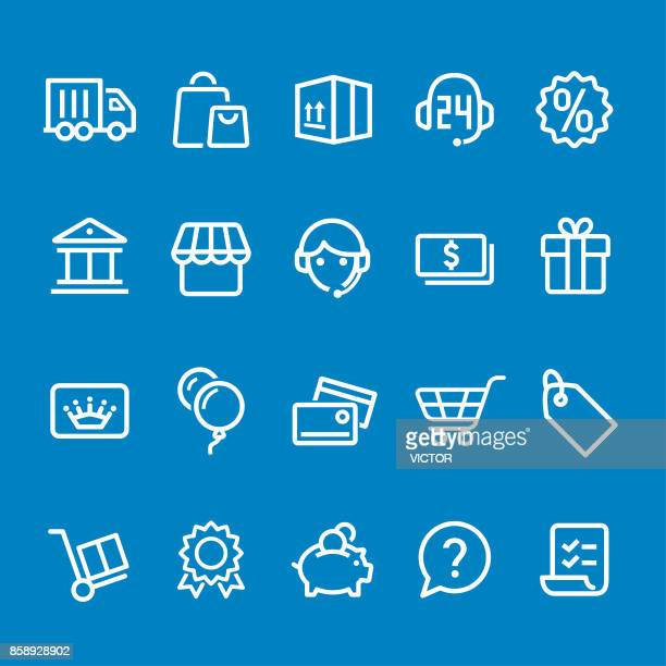 shopping icons - vector smart line series - cash flow stock illustrations, clip art, cartoons, & icons