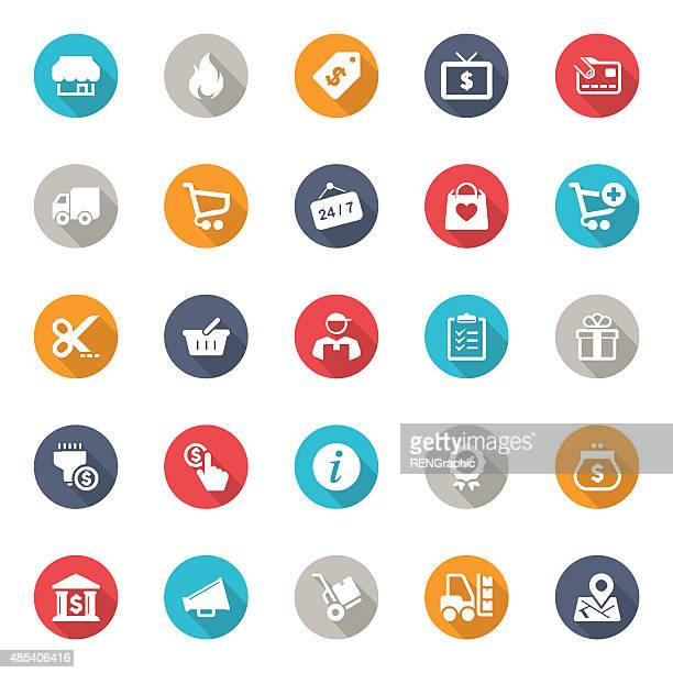 Shopping Icons with long shadow