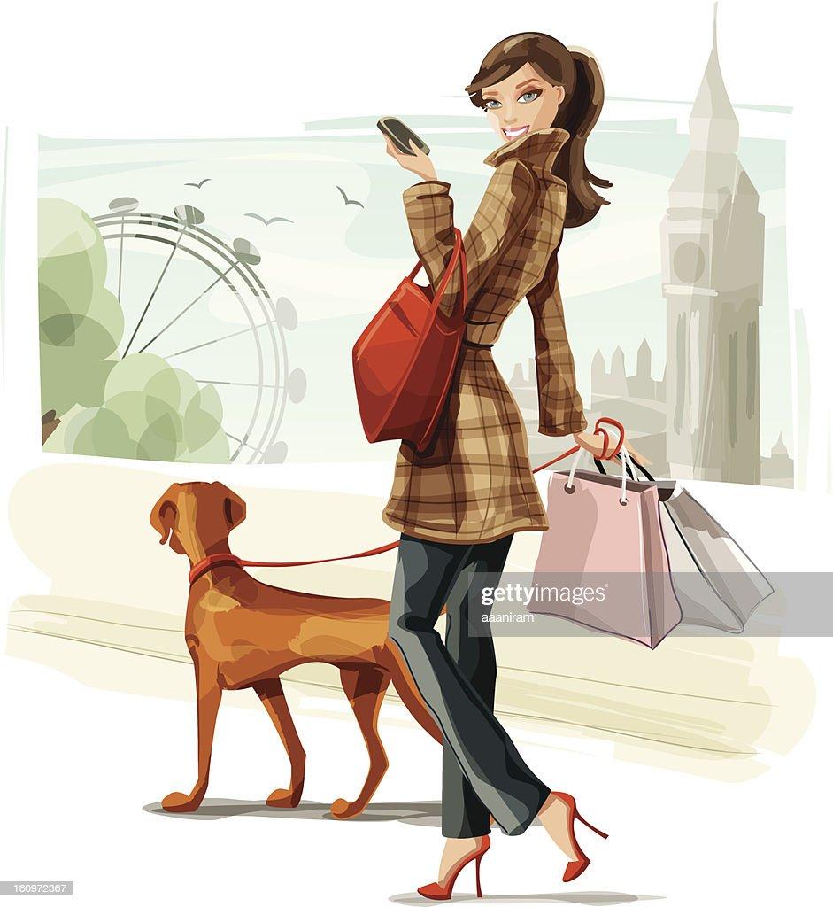 Shopping in London : stock illustration