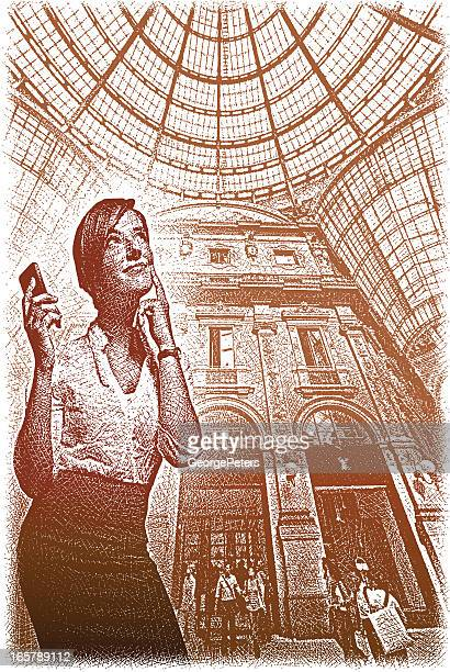 shopping in milan, italy - milan stock illustrations, clip art, cartoons, & icons