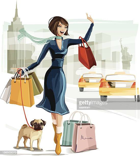 shopping in new york - taxi stock illustrations, clip art, cartoons, & icons