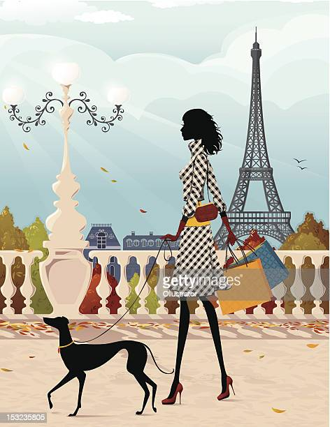 ilustraciones, imágenes clip art, dibujos animados e iconos de stock de compras en parís (otoño - galgo