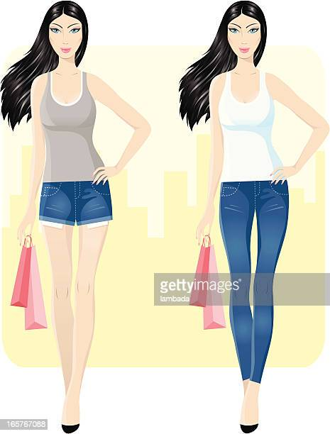 shopping in the city - shorts stock illustrations
