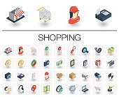 Shopping isometric icons. 3d vector