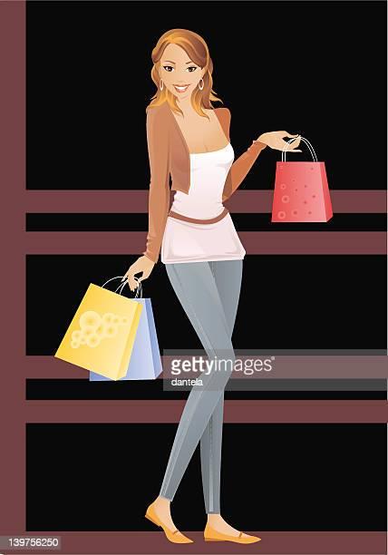 shopping lady - spending money stock illustrations, clip art, cartoons, & icons