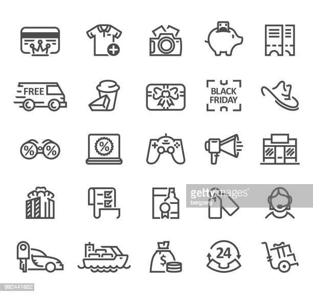 shopping line icon set - cash flow stock illustrations, clip art, cartoons, & icons