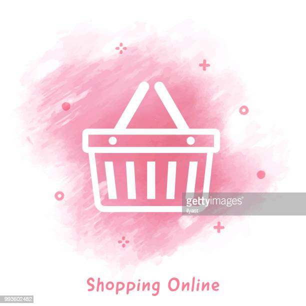 Shopping Line Icon Watercolor Background