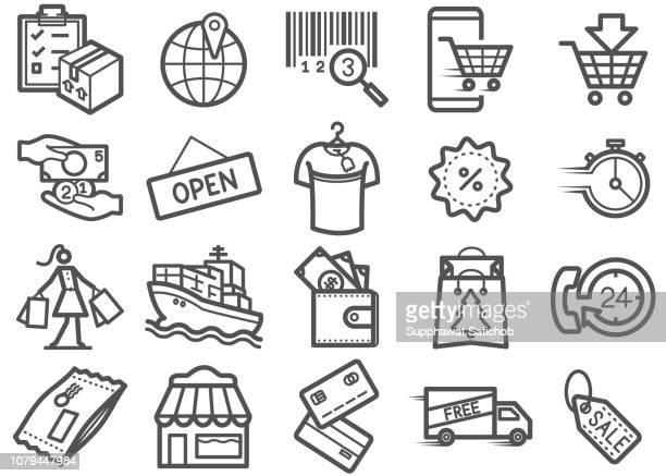 shopping line icons set 03 - christmas cash stock illustrations