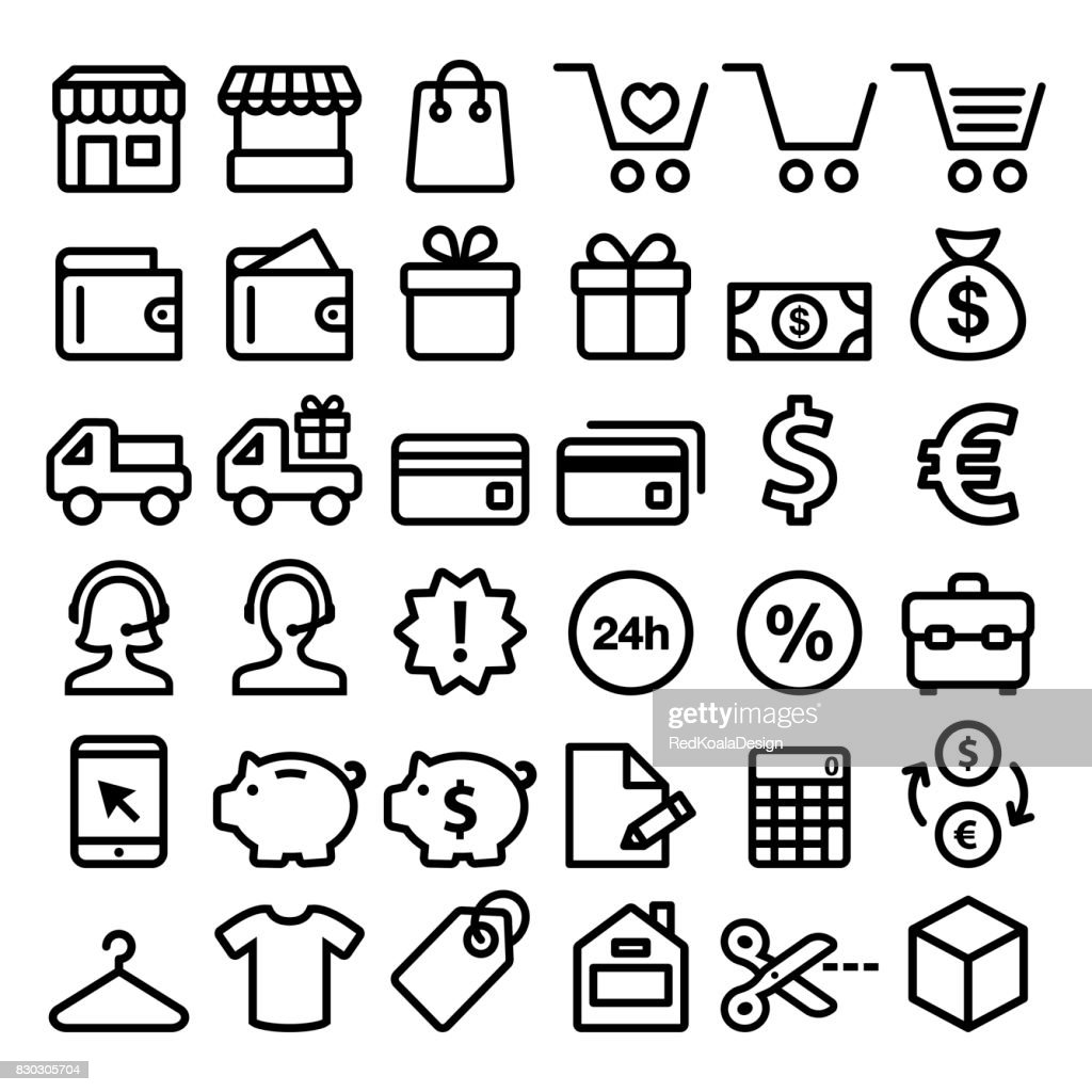 Shopping line icons set, buying online, store minimalist symbols - big pack