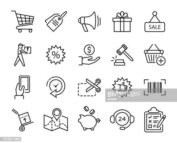 shopping line icons - cash flow stock illustrations, clip art, cartoons, & icons