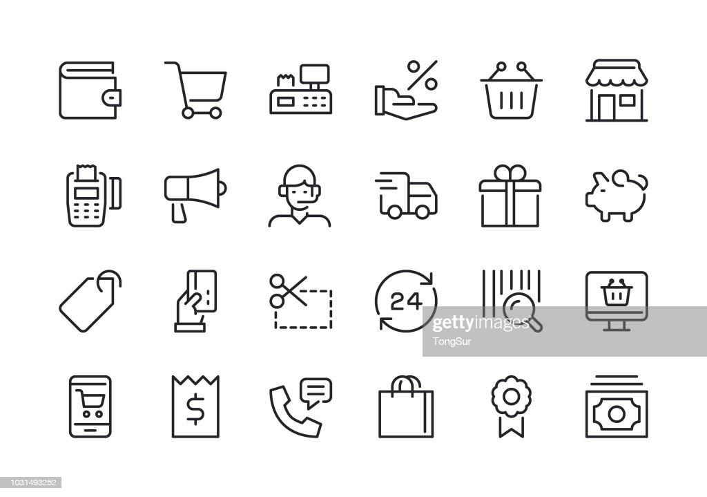 Shopping - Line Icons : stock illustration