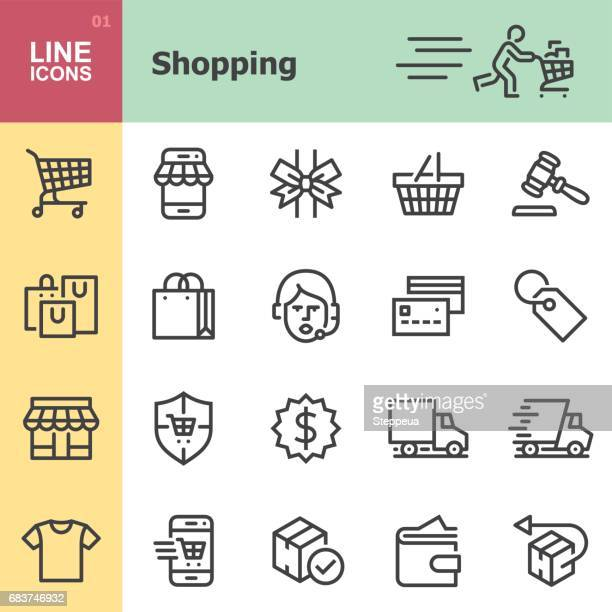 shopping line icons - fast fashion stock illustrations