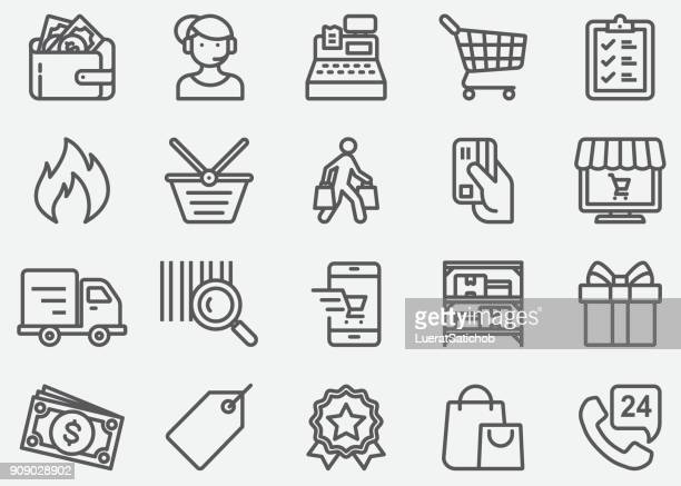 shopping line icons - consumerism stock illustrations