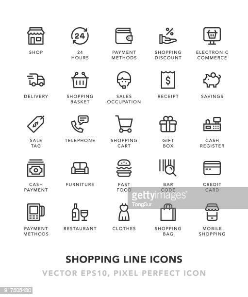 shopping line icons - receipt stock illustrations