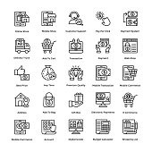 Shopping Line Vector Icons Set 6