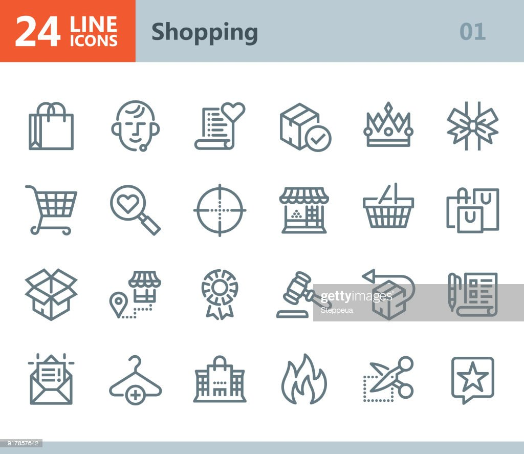 Shopping - line vector icons : stock illustration