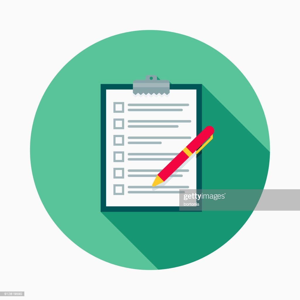 Shopping List Flat Design E-Commerce Icon : stock illustration
