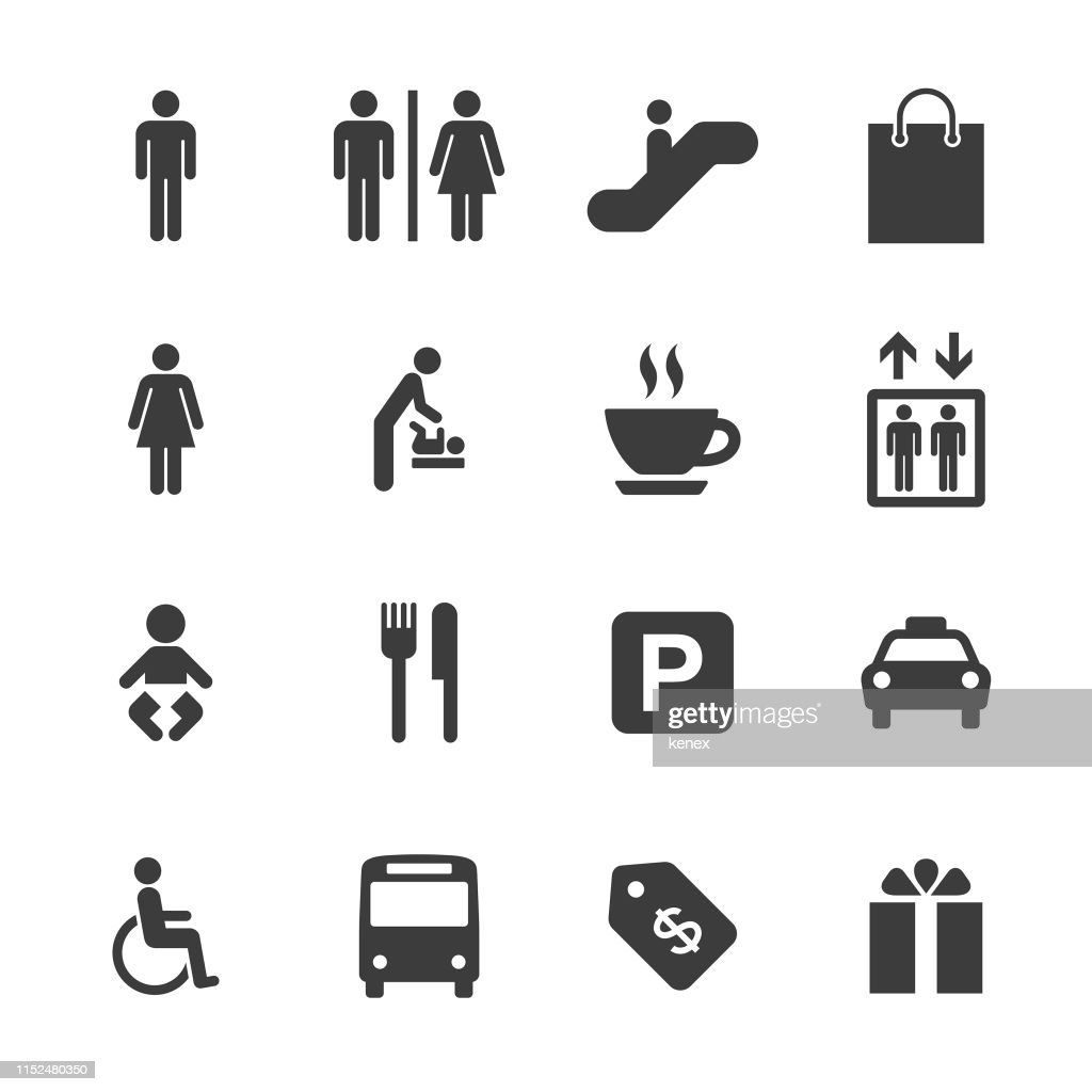 Shopping Mall and Public Icons Set : stock illustration