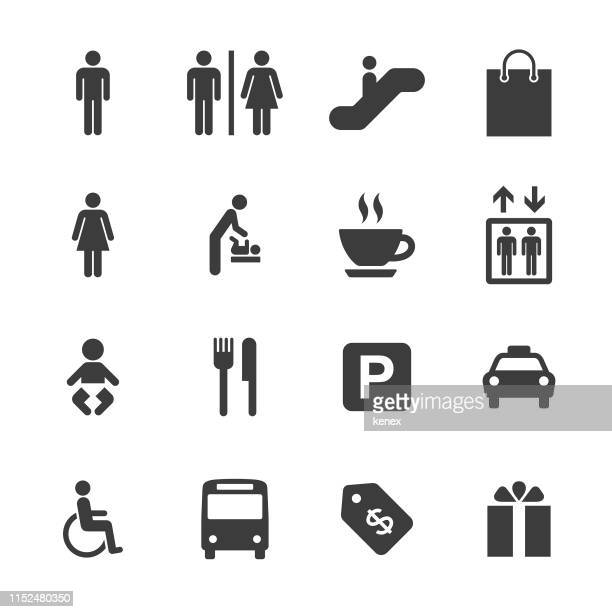 shopping mall and public icons set - commercial land vehicle stock illustrations