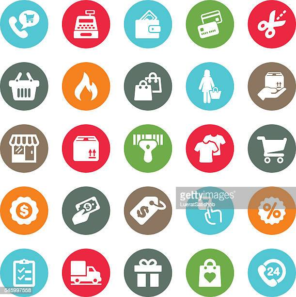 shopping mall circle colour harmony icons | eps10 - ordering stock illustrations, clip art, cartoons, & icons