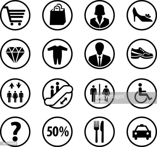 Shopping mall departments and iconography black & white icon set