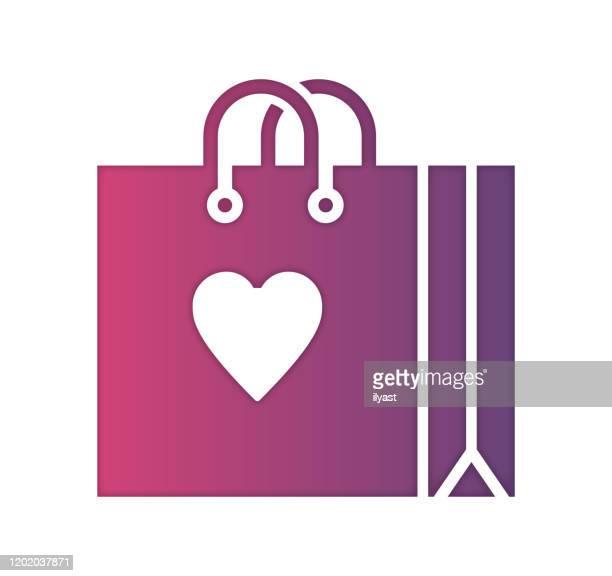 einkaufszentrum farb- & papierschnitt-stil icon design - loyalität stock-grafiken, -clipart, -cartoons und -symbole