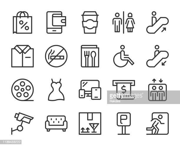 shopping mall - line icons - bathroom stock illustrations