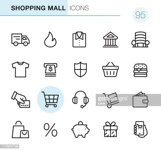 ilustrações, clipart, desenhos animados e ícones de alameda de compra-ícones perfeitos do pixel - bag
