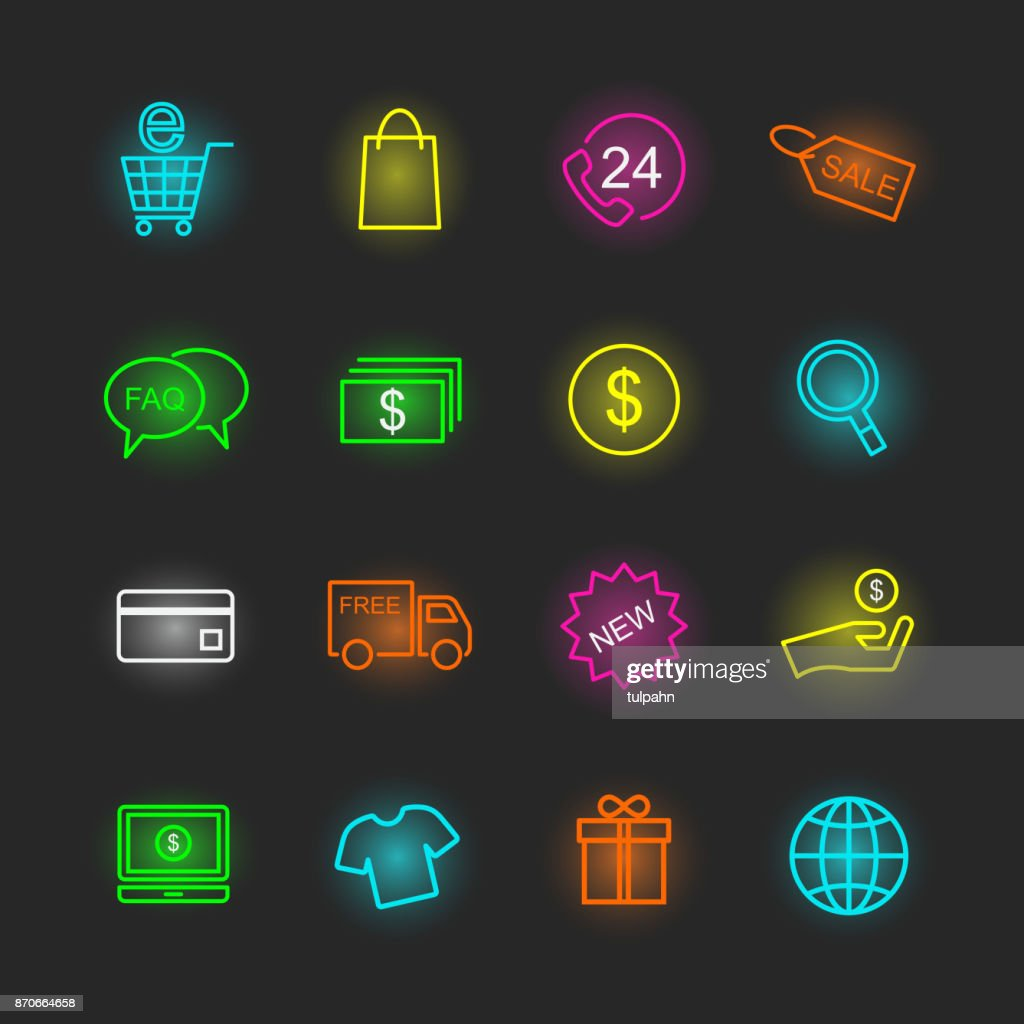 shopping neon icon set