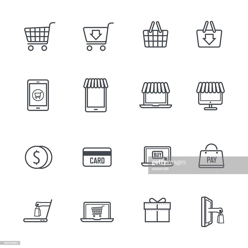 Online-Shopping Icons : Vektorgrafik