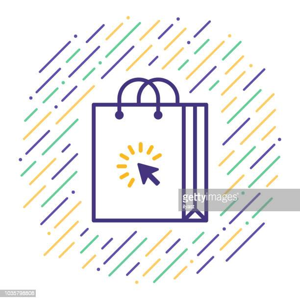 shopping online line icon - online shopping stock illustrations