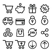 Shopping, online store icons set- line, stroke style