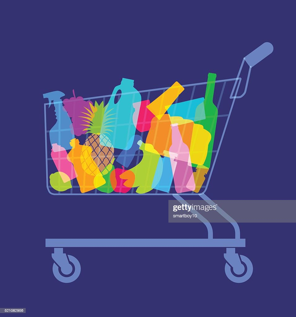 shopping or supermarket trolley : stock illustration