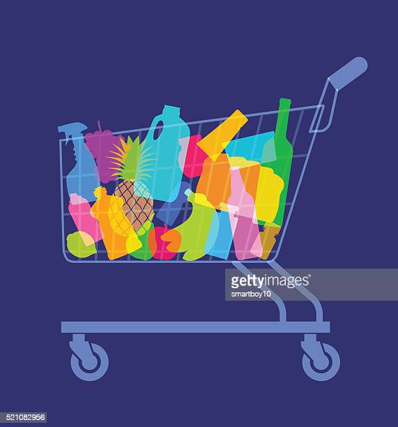 shopping or supermarket trolley - shopping cart stock illustrations