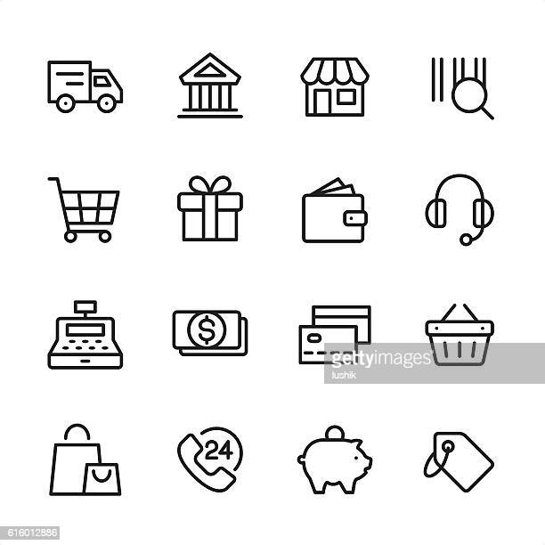 shopping - outline style vector icons - cash register stock illustrations