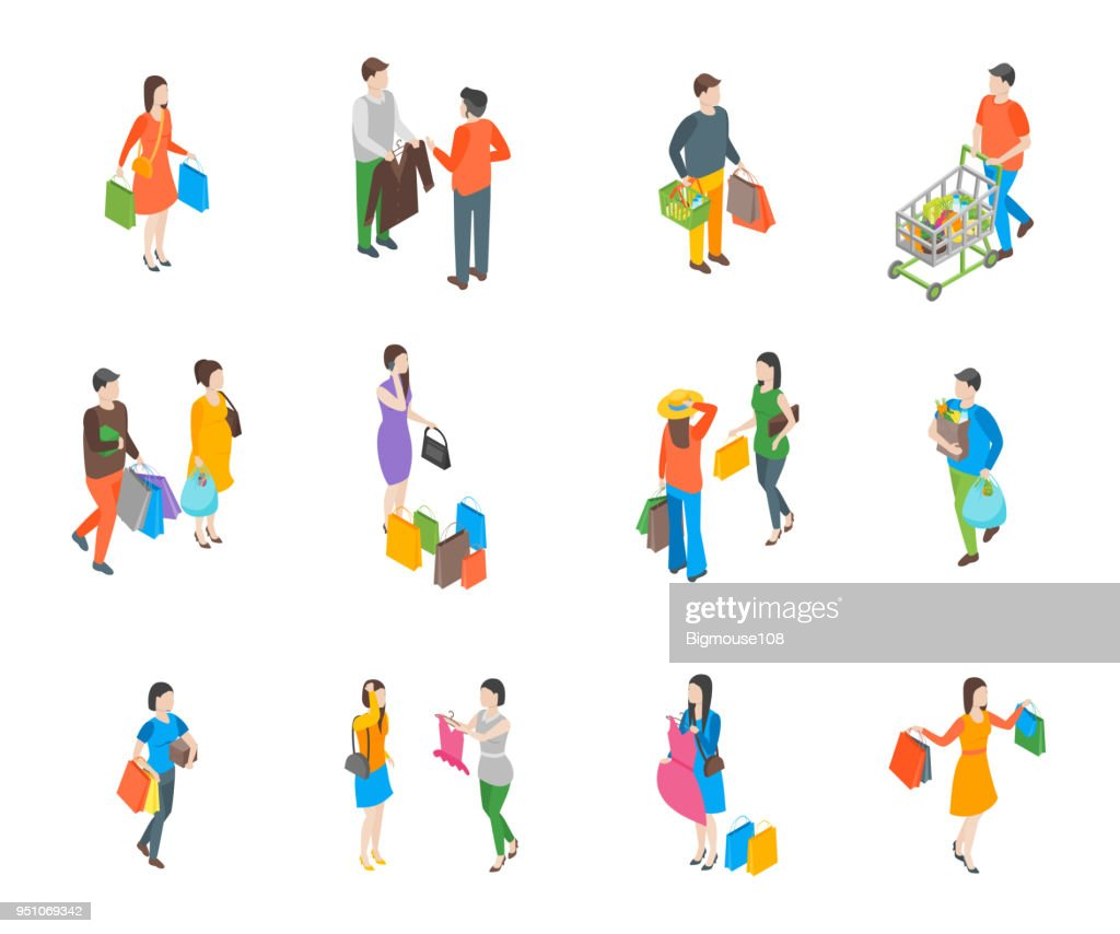 Shopping People 3d Icons Set Isometric View. Vector